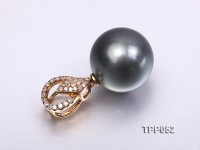 Gorgeous 14mm Tahitian Pearl Pendant with 18k Gold and Diamond