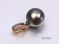 Exquisite 11.5mm Tahitian Pearl Pendant with 14k Gold