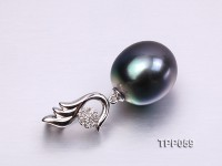 Beautiful 12×13.5mm Peacock Tahitian Pearl Pendant with 18k Gold and Diamond