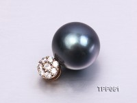12mm Black Tahitian Pearl Pendant with 14k Gold Bail Dotted with Zircons