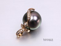 12mm Black Tahitian Pearl Pendant with 14k Gold Bail Dotted with Diamonds