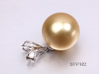 Marvelous Big Golden South Sea Pearl Pendant with 18k Gold and Diamond