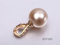 Exquisite 11.3mm Golden South Sea Pearl Pendant with 14k Gold