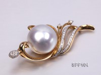 Stunning Phoenix White South Sea Pearl Pendant with 18k Gold and Diamond