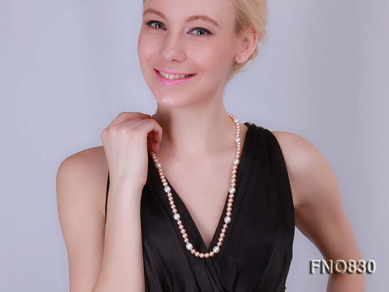 7-8mm pink round Freshwater Pearl Necklace