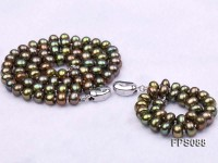7-8mm AA Peacock Green Flat Freshwater Pearl Necklace and Bracelet Set