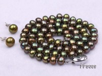 7-8mm Peacock Green Flat Freshwater Pearl Necklace and Stud Earrings Set