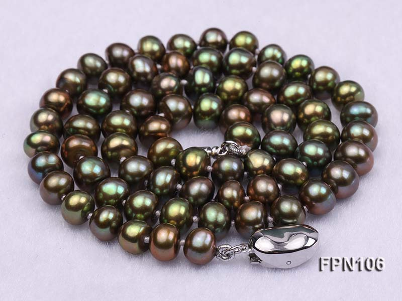 Classic 7-8mm AA Peacock Green Flat Cultured Freshwater Pearl Necklace