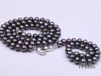 7-8mm Purplish-gray Flat Freshwater Pearl Necklace and Bracelet Set
