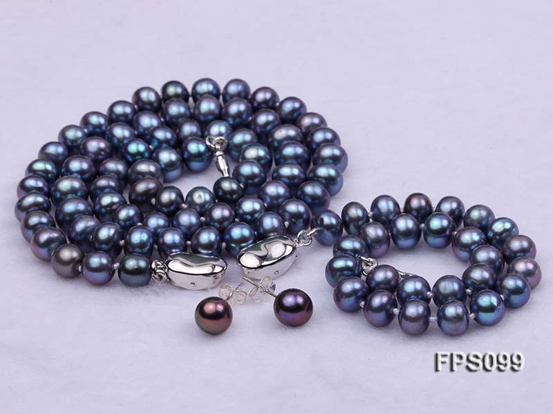 7-8mm Peacock Blue Flat Freshwater Pearl Necklace, Bracelet and Stud Earrings Set