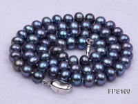7-8mm Peacock Blue Flat Freshwater Pearl Necklace and Bracelet Set