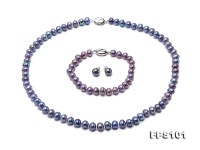 7-8mm Peacock Blue Flat Freshwater Pearl Necklace and Stud Earrings Set