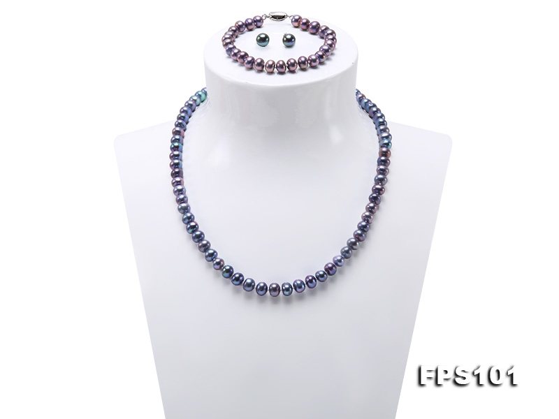 7-8mm Peacock Blue Flat Freshwater Pearl Necklace Bracelet and Stud Earrings Set