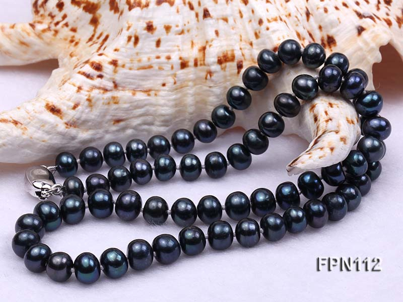 Classic 7-8mm Dark-blue Flat Cultured Freshwater Pearl Necklace