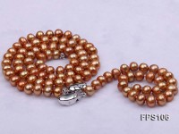 7-8mm Brown Flat Freshwater Pearl Necklace and Bracelet Set