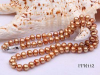 Classic 7-8mm Brown Flat Cultured Freshwater Pearl Necklace