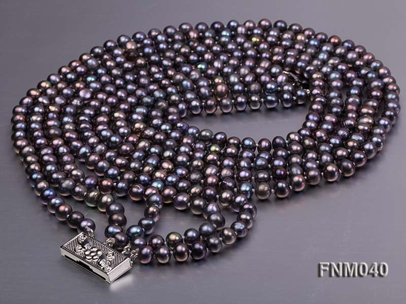 5 strand 6-7mm black round freshwater pearl necklace