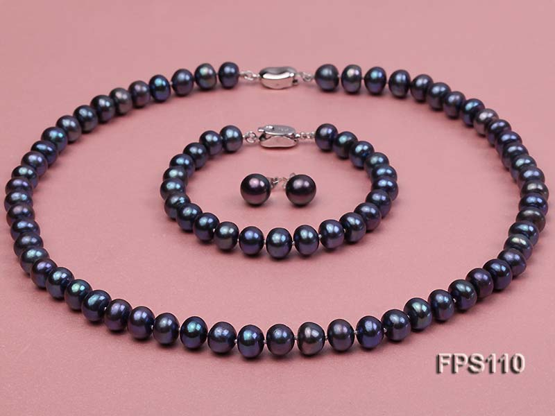 8-9mm Peacock Blue Flat Freshwater Pearl Necklace, Bracelet and Stud Earrings Set