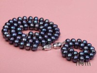 8-9mm Peacock Blue Flat Freshwater Pearl Necklace and Bracelet Set