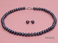 8-9mm Flatly Round Black Freshwater Pearl Necklace and Earring Set
