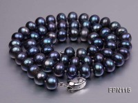 Classic 8-9mm Dark-purple Flat Cultured Freshwater Pearl Necklace