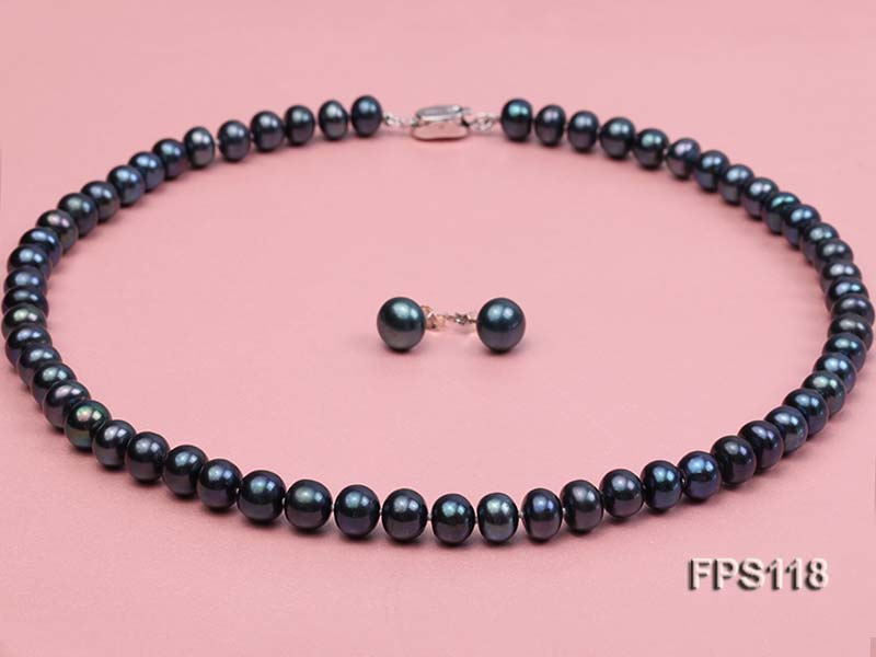 8-9mm AA Peacock Blue Flat Freshwater Pearl Necklace and Stud Earrings Set
