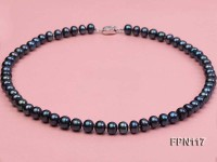 Classic 8-9mm Dark-blue Flat Cultured Freshwater Pearl Necklace