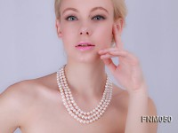 Three Strands White freshwater pearl necklace