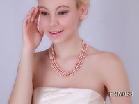 3 strand  pink freshwater pearl necklace