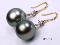 Gorgeous 15.5mm Black Tahitian Pearl Earring with 18k Gold and Diamond