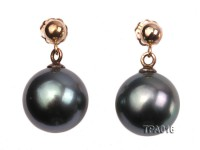 Delicate 11mm Tahitian Pearl Earring with 14k Gold