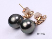 Delicate 11.5mm Tahitian Pearl Earring with 14k Gold Post