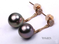 Delicate 10mm Tahitian Pearl Earring with 14k Gold