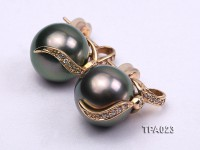 Delicate 12.5mm Tahitian Pearl Earring with 14k Gold