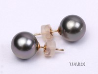 Delicate 11mm Tahitian Pearl Earring with 14k Gold Post
