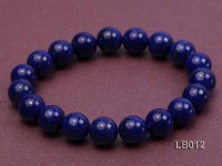 10mm Azure Blue Round Lapis Lazuli Beads Elasticated Bracelet