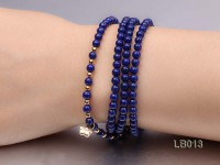 4mm Azure Blue Round Lapis Lazuli Beads Elasticated Bracelet