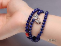 6mm Azure Blue Round Lapis Lazuli Beads Elasticated Bracelet