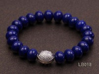 7.5x10mm Azure Blue Lapis Lazuli Beads Elasticated Bracelet