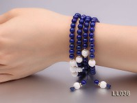8mm Azure Blue Round Lapis Lazuli Prayer Beads Elasticated Necklace