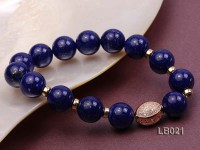 12mm Azure Blue Round Lapis Lazuli Beads Elasticated Bracelet