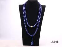 12mm Azure Blue Round Lapis Lazuli Prayer Beads Necklace