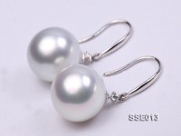 Gorgeous AAA 12.5-13mm White South Sea Pearl Earring in 14kt White Gold