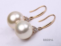 Gorgeous AAA 12-12.5mm Lignt Golden South Sea Pearl Earring in 14kt Gold