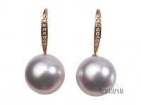 Gorgeous AAA 12.5mm White South Sea Pearl Earring in 14kt Gold