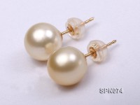 9-9.5mm AAA natural golden akoya pearl earrings in 14k gold