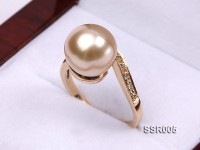 Elegant AAA 11mm Light Golden South Sea Pearl Ring In 14kt Gold