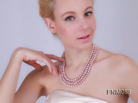 3 strand lavender freshwater pearl necklace