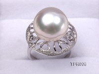 Elegant AAA 14.6mm Shiny White South Sea Pearl Ring In 925 Sterling Silver