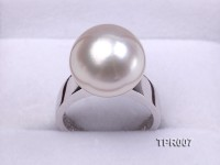 Elegant AAA 14mm Shiny White South Sea Pearl Ring In 18kt Gold